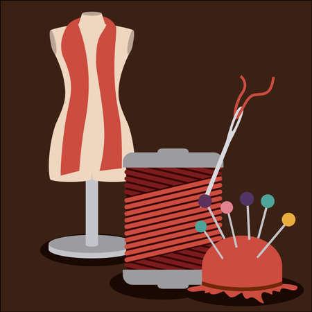 Schneiderei Design über braunem Hintergrund, Vektor-Illustration