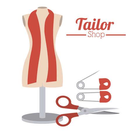 tailor shop: Tailor Shop design over white background, vector illustration