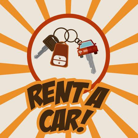 renting: Rent a car design over striped background, vector illustration Illustration