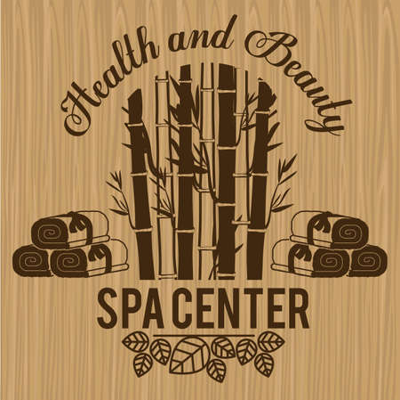 massage therapy: Spa center design over wood background, vector illustration Illustration