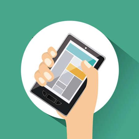 gadget: Gadget design over green background, vector illustration