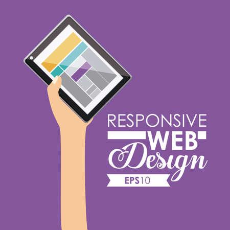 gadget: Gadget design over purple background, vector illustration