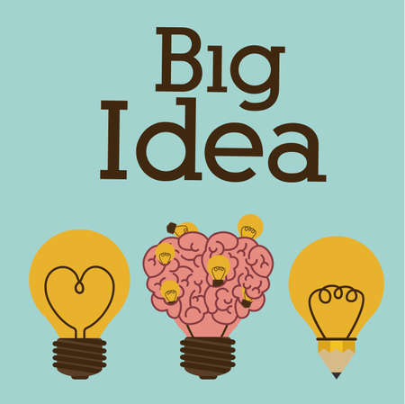heart intelligence: Big idea design over blue background, vector illustration