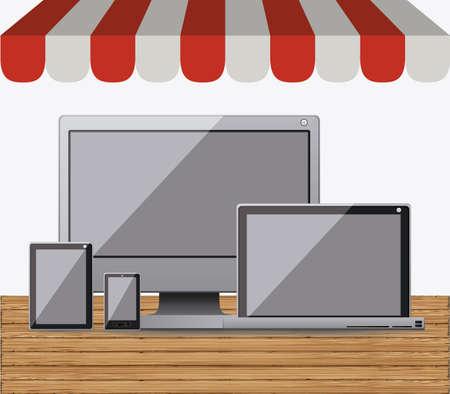 gadget: Gadget design over white background, vector illustration
