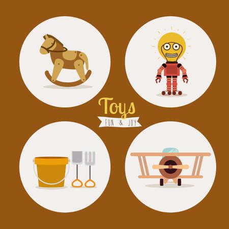 cartoon wood bucket: Toys design over brown background, vector illustration Illustration