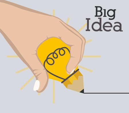 mental object: Big idea design over grey background, vector illustration