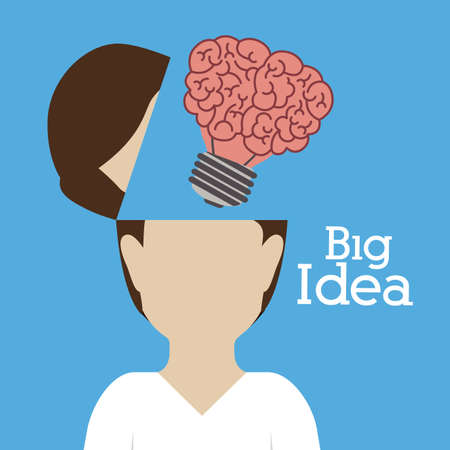 big idea: Big idea design over blue background, vector illustration