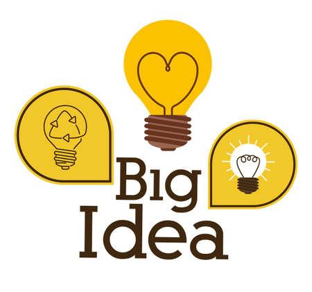 mental object: Big idea design over white background, vector illustration