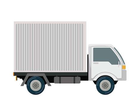白い背景に、ベクトル図を物流・納品デザイン