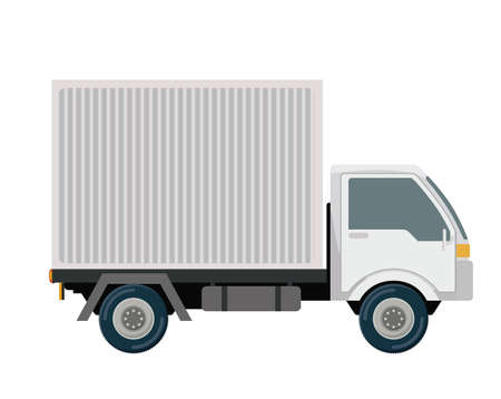 truck road: Logistics and delivery design over white background, vector illustration