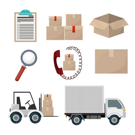 global logistics: Logistics and delivery design over white background, vector illustration