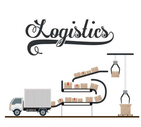 global logistics: Logistics and delivery design over white background, vector illustration