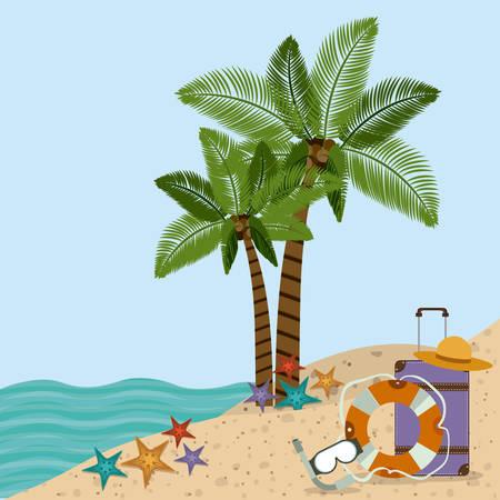 beach landscape: Family travel desing over beach landscape, vector illustration Illustration