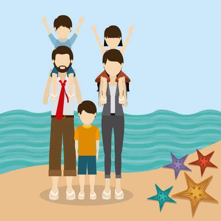 desing: Family travel desing over beach landscape, vector illustration Illustration