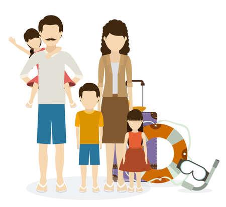 desing: Family travel desing over white, vector illustration
