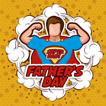 the hero: Fathers day design over yellow background, vector illustration