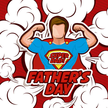 Fathers day design over red background, vector illustration