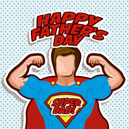 super human: Fathers day design over pointed background, vector illustration