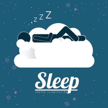 exhaustion: Sleep design over blue background, vector illustration