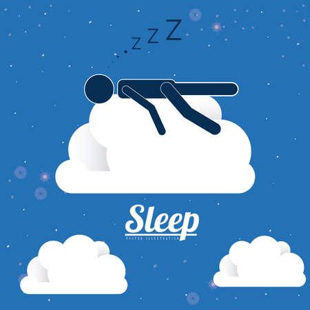 niño durmiendo: Diseño del sueño sobre fondo azul, ilustración vectorial