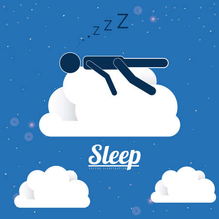 child sleeping: Sleep design over blue background, vector illustration