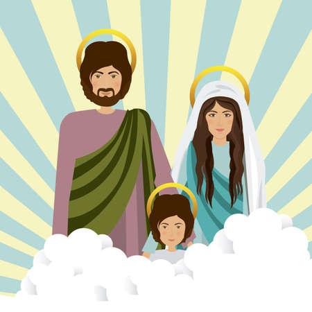 sacra famiglia: Disegno Sacra Famiglia su sfondo a strisce, illustrazione vettoriale