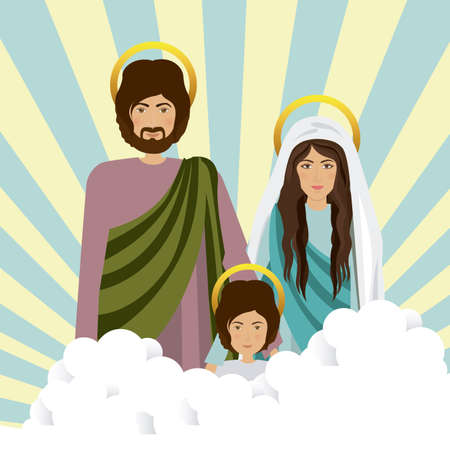 holy family: Holy Family design over striped background, vector illustration