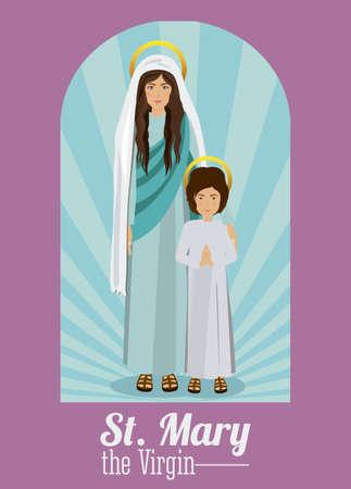 sacra famiglia: Disegno Sacra Famiglia su sfondo viola, illustrazione vettoriale Vettoriali