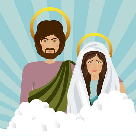 holy family: Holy Family design over blue background, vector illustration