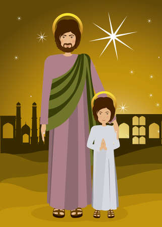 holy family: Holy Family design over landscape background, vector illustration