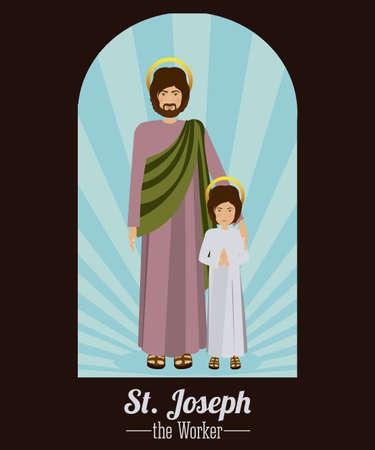 sacra famiglia: Disegno Sacra Famiglia su sfondo marrone, illustrazione vettoriale Vettoriali
