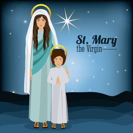 holy family: Holy Family design over blue background, vector illustration