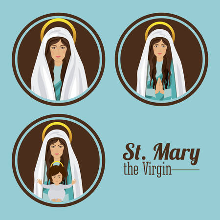 sacra famiglia: Disegno Sacra Famiglia su sfondo blu, illustrazione vettoriale Vettoriali