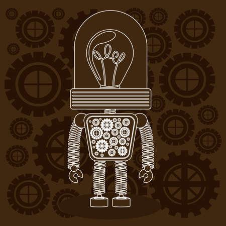 fond brun: La conception du robot sur fond brun, illustration vectorielle