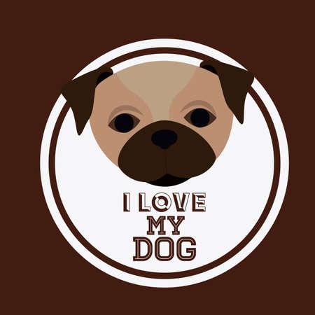 trusting: Love pet design over brown background, vector illustration
