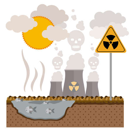 pollution: Pollution design over white background, vector illustration