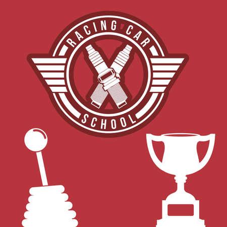 Racing School design over red background, vector illustration 向量圖像