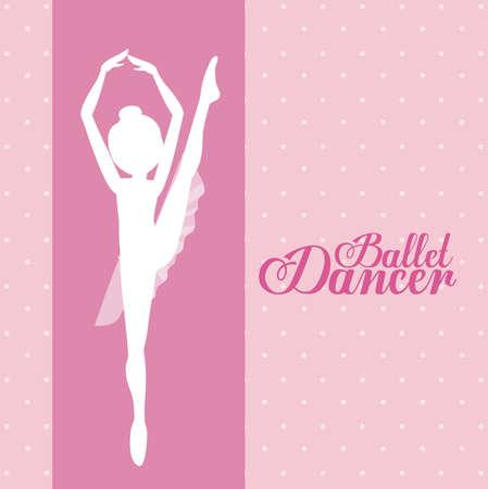 ballerina danza classica: Disegno Ballerina su sfondo rosa, illustrazione vettoriale