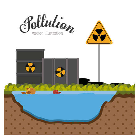 hazardous waste: Pollution design over white background, vector illustration