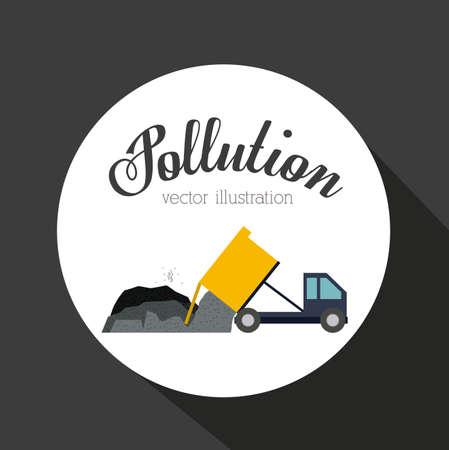 hazardous waste: Pollution design over grey background, vector illustration