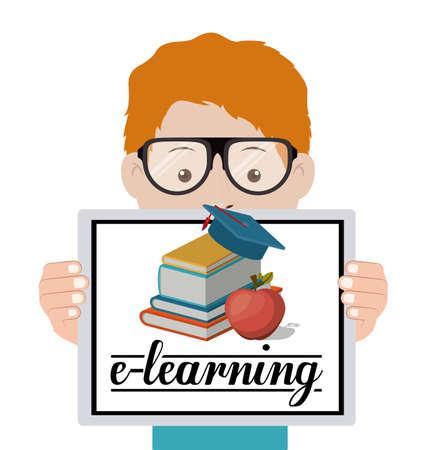 aprendizaje: e-learning de diseño sobre fondo blanco, ilustración vectorial