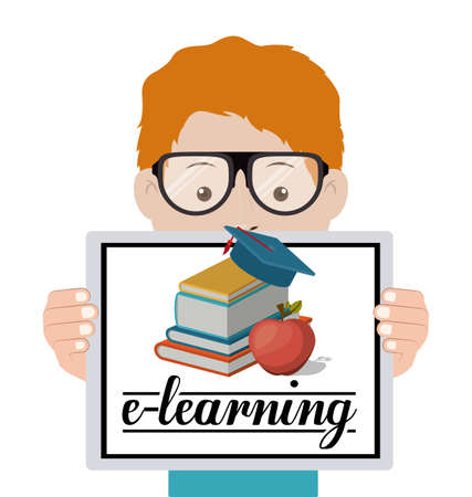 learning: e-learning design over white background, vector illustration Illustration