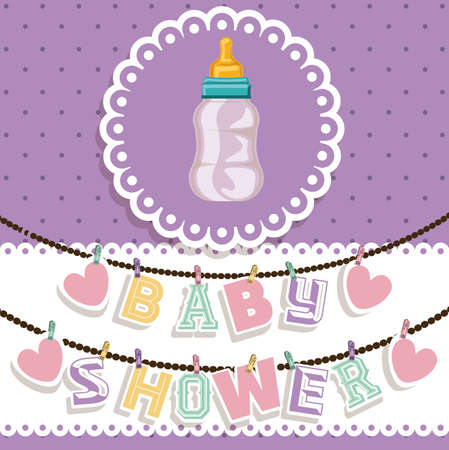sweet background: Baby Shower design over purple background, vector illustration Illustration