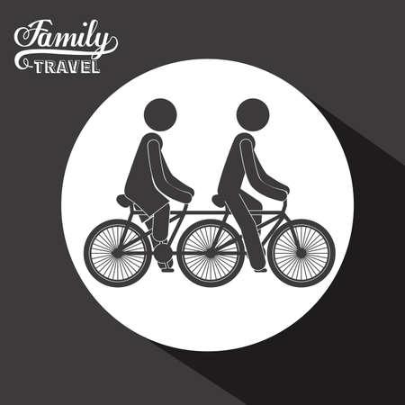 black family: Family travel design over black background, vector illustration