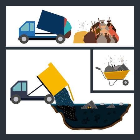Pollution design over white background, vector illustration Vector