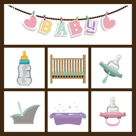 traditional background: Baby Shower design over black background, vector illustration Illustration