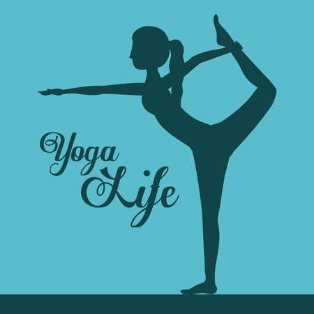 flexible woman: Yoga life design over blue background, vector illustration