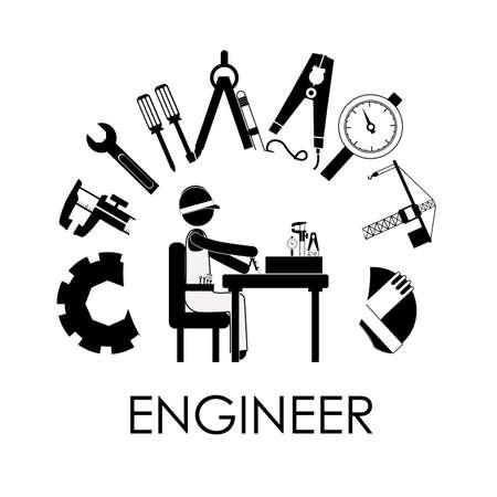 illustation: Engineer design over white background, vector illustation