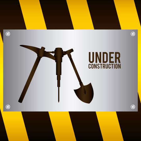 under construction symbol: Under construction design over striped background, vector illustration