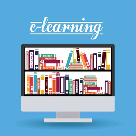 aprendizaje: e-learning de diseño sobre fondo azul, ilustración vectorial Vectores